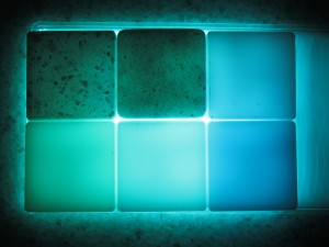 2g Surfaces: HI-MACS samples backlit to show translucency