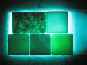 2g Surfaces: Hi-Macs colors backlit to show translucency